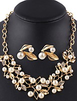 Gold Imitation Pearl Jewelry Set For Women Flower Necklace Earring Set Parure Bijoux Leaf Wedding Sets