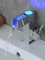 Contemporain Set de centre LED with  Valve en céramique Mitigeur un trou for  Chromé , Robinet lavabo