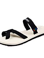 sapatos masculinos pu sandálias casuais andando outros salto planas preto / rosa / branco