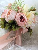 Bouquets de Noiva Forma-Livre Rosas / Peônias Buquês Casamento Multi-Côr Cetim 9.06