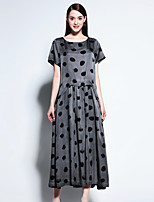 Boutique S Women's Going out Sophisticated Swing Dress,Polka Dot Round Neck Maxi Short Sleeve Gray Rayon Summer