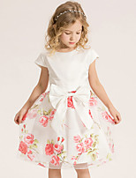 Girl's Cotton Summer Fashion Bowknot Delicate Printing  Dress