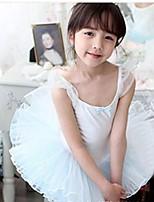 Ballet Outfits Children's Performance Cotton / Tulle Cascading Ruffle 1 Piece Blue / Pink Ballet Sleeveless Natural Dress