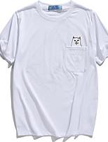 Masculino Camiseta Algodão Estampado Manga Curta Casual / Esporte-Preto / Azul / Branco / Cinza