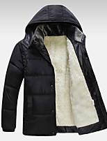 Men's Long Parka Coat,Polyester Solid Long Sleeve