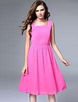 Viva Vena® Women's Round Neck Sleeveless Tea-length Dress-VA88187