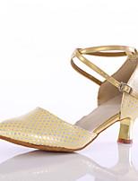 Women's Latin Leatherette Heels Indoor Customized Heel Gold Customizable