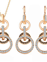 Temperament Hollow Circle Bridal Accessories Earrings Necklace Jewelry Sets