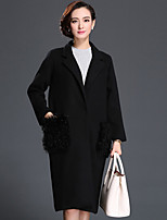 Women's Going out Vintage Coat,Solid / Embroidered V Neck Long Sleeve Spring Red / Black / Gray Wool Thick