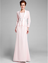 Lanting Bride Trumpet / Mermaid Mother of the Bride Dress Floor-length Long Sleeve Chiffon with Sash / Ribbon