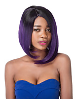 European Vogue Short Sythetic Party Dark Mix Purple Straight U Part Wig For Women