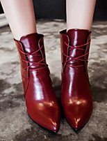 Women's Shoes PU Spring / Fall Bootie Boots Outdoor Kitten Heel Lace-up Black / Brown / Red