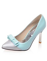 Women's Shoes PU Summer/ Pointed Toe Heels Office & Career / Casual Stiletto Heel Bowknot Blue / Green / Pink / Beige