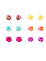 Fashion Women Elegant 15mm Resin Rose Flower Stud Earring Set
