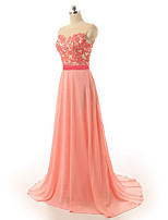 Formal Evening Dress Sheath / Column Scoop Sweep / Brush Train Chiffon / Satin with Appliques / Sash / Ribbon
