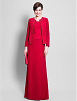 Sheath/Column Mother of the Bride Dress - Floor-length Long Sleeve Chiffon