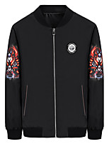 Men's Long Sleeve Casual / Sport Jacket,Polyester Solid Black