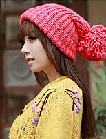 Knitted Solid Color Hat Female Winter Lovely Big Ball Caps