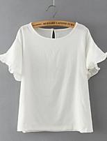 De las mujeres Sexy Casual/Diario Verano Camiseta,Escote Redondo Un Color Manga Corta Algodón / Lino Blanco Fino