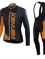KEIYUEM® Winter Thermal fleece Long Sleeve Cycling Jersey+Long Bib Tights Ropa Ciclismo Cycling Clothing Suits #W40