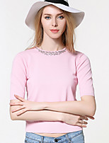Women's Going out / Casual/Daily Cute Regular Pullover,Solid Pink Round Neck Short Sleeve Nylon Summer Medium