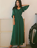 SINCE THEN  Women's Sexy / Boho Solid Swing Dress,Round Neck Maxi Polyester