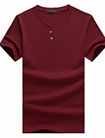 Herren T-shirt-Einfarbig Freizeit / Büro Baumwolle / Polyester Kurz-Schwarz / Blau / Rot / Weiß / Grau