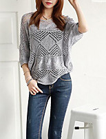 Women's Solid Gray Blouse,V Neck ½ Length Sleeve