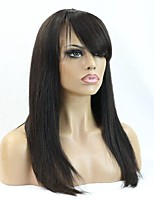 180% Density Silky Straight Human Virgin Hair Wig With Hair Cut Fringe for Black Women