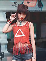 Damen Punkt Einfach Lässig/Alltäglich T-shirt,Gurt Sommer Ärmellos Grau / Orange Baumwolle Dünn