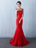 Formal Evening Dress Trumpet / Mermaid Scoop Sweep / Brush Train Lace with Crystal Detailing