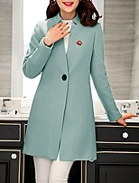 Women's Casual/Daily Simple Coat,Solid Notch Lapel Long Sleeve Spring Pink / Red / Green / Purple Wool Medium