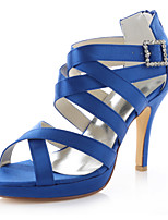 Women's Shoes Stretch Satin Sandals / Peep Toe Sandals Wedding / Dress Purple /Red/Blue/Black