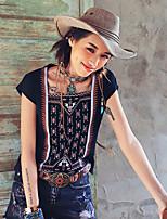 Aporia.As® Dames Ronde hals Korte mouw Shirt & Blouse Zwart Fade-MZ03095