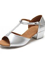 Chaussures de danse(Argent / Or) -Personnalisables-Talon Bas-Satin-Latine