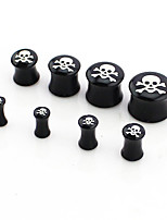 8pcsBlack skeleton  personality ear expansion set allergy fashion personality Puncture tool ear Anti allergy