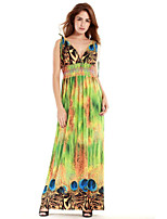 Women's Beach / Plus Size Boho Swing Dress,Print Deep V Maxi Sleeveless Green Polyester Summer
