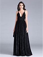 TS Couture Formal Evening Dress Sheath / Column Spaghetti Straps Floor-length Polyester with Sash / Ribbon / Ruffles