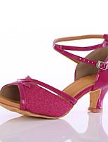 Для женщин Латина Блестки На каблуках Для закрытой площадки Каблуки на заказ Пурпурный Персонализируемая