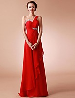 Formal Evening Dress Sheath / Column One Shoulder Floor-length Chiffon with Beading / Pleats