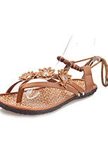 Women's Sandals Summer Open Toe PU Casual Flat Heel Others Brown / White