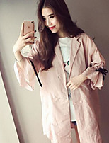 Women's Party/Cocktail Simple Trench Coat,Solid V Neck Long Sleeve Fall Pink / Green Acrylic Thin