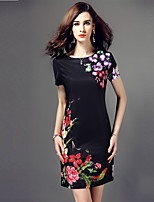 Women's Plus Size / Casual/Daily Vintage Sheath Dress,Floral Round Neck Above Knee Short Sleeve Black Polyester Summer