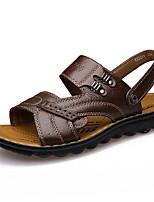 Sapatos Masculinos-Sandálias-Marrom / Amarelo-Pele-Ar-Livre / Casual