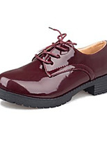 Women's Oxfords Winter Comfort Patent Leather Casual Flat Heel Lace-up Black / Burgundy Others