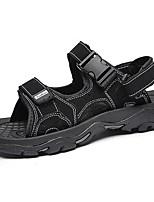 Sapatos Masculinos-Sandálias-Preto / Taupe-Sintético-Ar-Livre / Casual