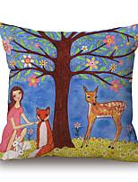 Cotton/Linen Pillow Cover,Novelty / Graphic Prints Modern/Contemporary / Casual
