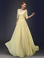Formal Evening Dress A-line Jewel Floor-length Chiffon with Bow(s)