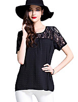 Women's Casual/Daily Plus Size Summer Blouse,Solid Round Neck Short Sleeve Black Polyester Medium