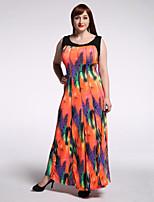 Women's Beach / Plus Size Boho Chiffon Dress,Floral Deep V Maxi Sleeveless Green Polyester / Spandex Spring